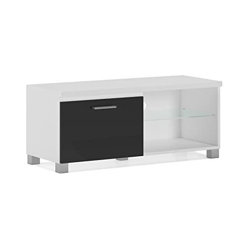 Skraut Home – Meuble Bas TV LED, Salon-Séjour, Blanc et Noir Laqué, 100x40x42cm