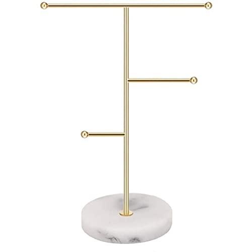 Nordic Jewelry Stand con base de mármol, soporte de exhibición para collar con barra en T, colgante de metal, aretes organizador de árbol, base de mármol, soporte de joyería
