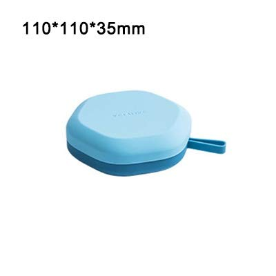 Weiche Silikon-EIS-Würfel-Hersteller-EIS am Stiel Mold DIY Hexagonal Ice Box Taschen mit Abdeckung Tragbare EIS-Gitter-Aufbewahrungsbehälter-Küche-Werkzeuge Eiswürfelform (Color : Light Blue)