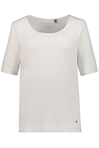 GINA LAURA Damen | Shirt | Super-Stretch | Größe S-XXXL | Rundhalsausschnitt, Satinpaspel | Jersey | weiß XXL 100928 20-XXL