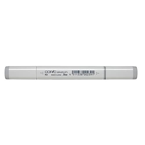 COPIC Sketch Marker Typ N - 3, neutral gray No. 3, professioneller Pinselmarker, alkoholbasiert, mit einer Super-Brush-Spitze und einer Medium-Broad-Spitze