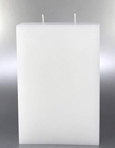 Kerze Modern mit 2-Dochten weiß, 22x15 cm - 8609 - Kerzenrohling, Formenkerze geeignet zum Verzieren und Gestalten.