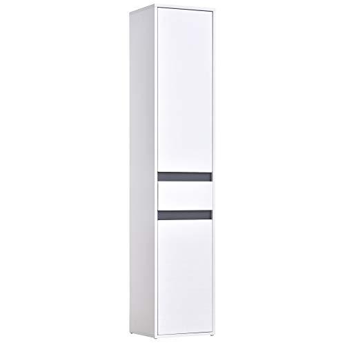 HOMCOM Meuble Colonne Rangement Salle de Bain Style Contemporain 2 placards 3 étagères et tiroir Coulissant Panneaux Particules Blanc