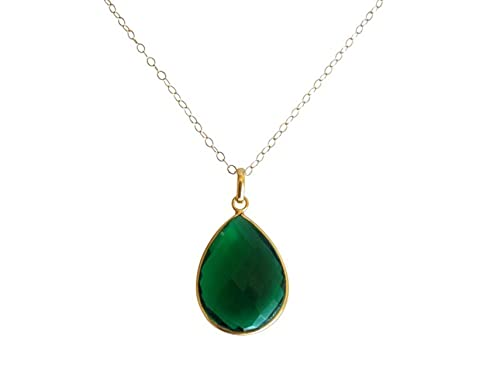 Gemshine Damen Halskette in 925 Silber vergoldet mit grünen Turmalin Quarz Tropfen - CANDY - 60 cm lang, Made in Spain