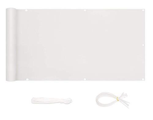 Sekey Pantalla para Balcón Jardín Protección de Privacidad Opaca Polyster, Protección UV, Resistente al Viento, se Puede Cortar, con Cuerda y Bridas 90 x 300cm, Blanco