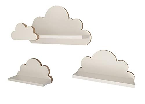 Juego de 3 estanterías de Pared con diseño de Nubes, para habitación de los niños y bebés, de Madera, Estilo escandinavo, Color Blanco