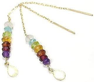 Cute jewelry 7種マルチジェムストーン・K10YG(イエローゴールド) 幸せの7石アミュレットアメリカンピアス
