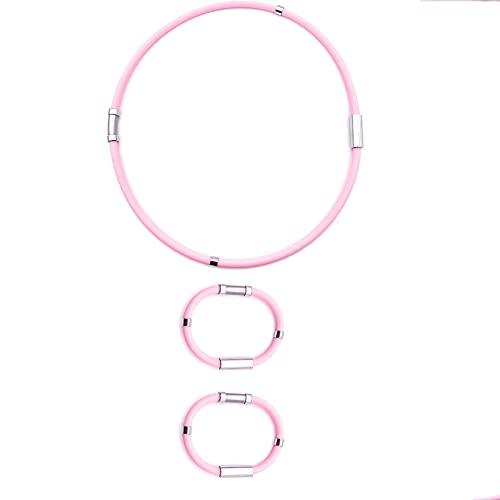 2 PCS Athletic Ion Balancing Bracelet,Anti Static Wrist Bracelet,Energized Well Being Health Fashion Bracelet,Outdoor Sports AdjustableWrist Bands (Women's(Necklace + Bracelet) Pink)