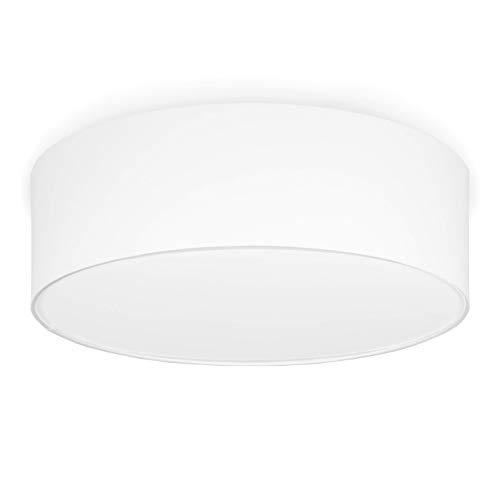 youngDECO Deckenlampe 3xE27, Ø45cm großer Lampenschirm aus Textil (Baumwolle), Weiß, Deckenleuchte für Kinderzimmer, Wohnzimmer, Schlafzimmer, Küche und Büro, hergestellt in der EU