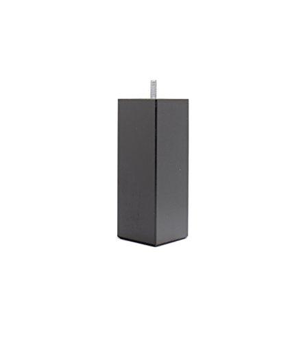 Jeu de 4 Pieds de Lit Bois, carré Laqué Noir, 15 x 5,5 x 5,5 cm