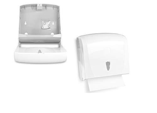 Handtuch-Papierspender | klein und kompakt, Kapazität für ca. 300 Blatt C/V-Falz | Spender im modernen Design, weiß | Sichtfenster zur Verbrauchskontrolle und abschließbar inkl. Befestigungsmaterial