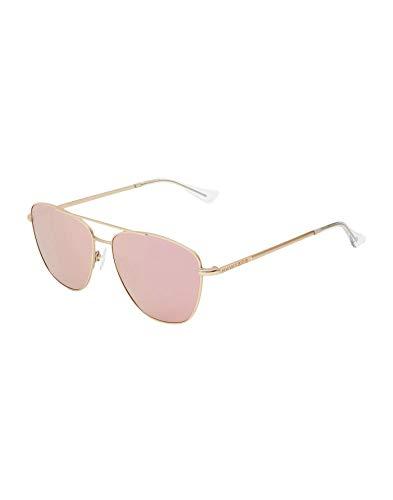 HAWKERS · Gafas de Sol Lax Rose Gold, para Hombre y Mujer, estilo aviador con estructura metálica dorada y lentes con efecto espejo oro rosado, Protección UV400