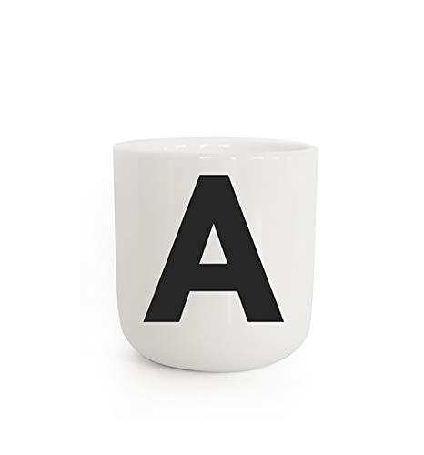 PLTY - A taza - Taza con letras A - Taza sin asa - Porcelana blanca vitrificada a mano - The Wave - Diseño danés - The Wave - Cup with letter A