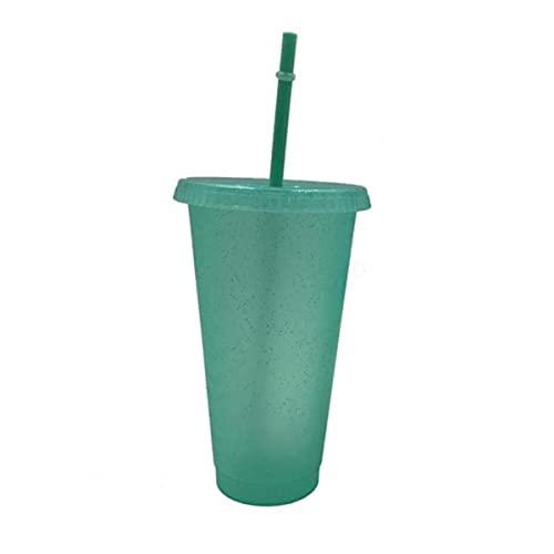 Taza de paja de 400/500 ml Taza de botella de agua con pajita Polvo de destello duradero Taza fría brillante Taza de jugo de paja Taza de paja Taza para beber para niños-Verde claro L