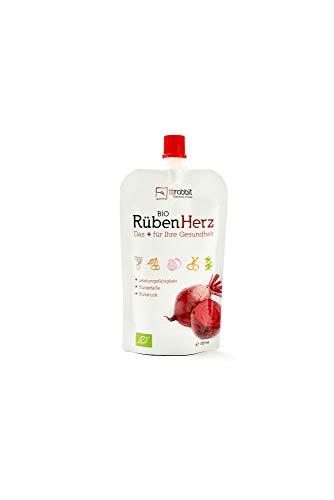 fitrabbit Bio Rüben Herz - para la presión arterial, vasos sanguíneos y rendimiento. orgánico. Concentrado de remolacha + granada + cereza agria + hierbas y especias + acerola (12 bolsas de 100 ml)