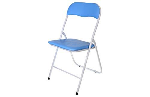 HERSIG - Silla Plegable | Silla Metalica Plegable - Color Azul y Blanco