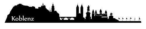 Wandtattoo XXL Skyline Koblenz Deutsches Eck Stadt Wand Aufkleber Wandsticker Wandaufkleber Deko sticker Wohnzimmer Autoaufkleber 1M002, Farbe:Schwarz Matt, Größe (Länge):140 cm