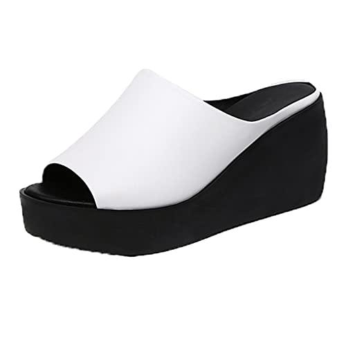 Señoras tacón de cuña diapositivas pobres moda peep toe exterior e interior usable conciso slip-on negro blanco mujeres verano playa zapatillas