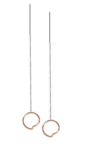 Obaku Denmark – Orecchini della collezione di gioielli Enso in argento sterling 925 – con cristalli Swarovski – placcato in oro 18 carati o con oro rosa – Design e Argento, cod. J103EII
