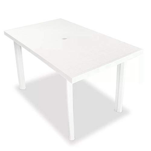 Mesa de jardín exterior de plástico blanco para camping, mesa de jardín blanca 126 x 76 x 72 cm de plástico