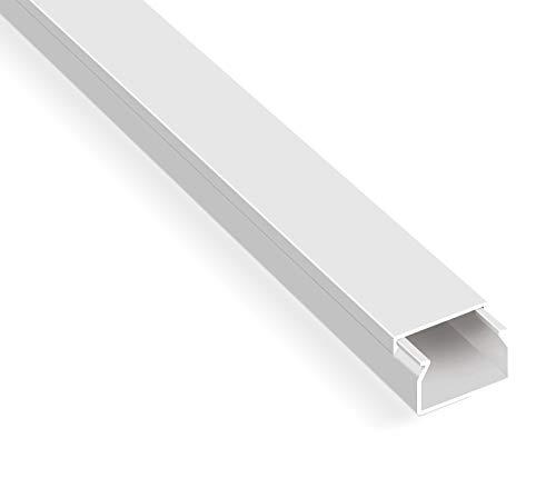 Canaletas para cables listas para montar (20 m, autoadhesivos, con cinta adhesiva de espuma, color blanco), Blanco
