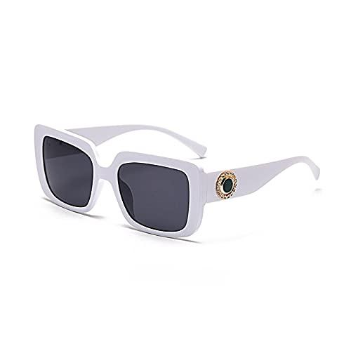 Gafas de sol retro con marco cuadrado para mujer, adecuadas para conducir, viajar, fiestas, moda y versátiles gafas de sol Uv400, Hoja gris con marco blanco sólido C4,