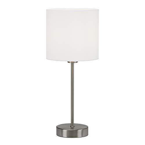 Briloner Leuchten Mesa, Noche, lámpara de Escritorio, 1x E14, Incluye Interruptor de Cable, Pantalla de Tela, Blanco, 150x160mm