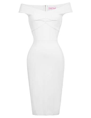 Belle Poque Sommerkleider Knielang Retro Kleid 50er Jahre Kleid Damen Etuikleider Pencil Kleid BP387-5 L