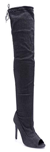 Schuhtempel24 Damen Schuhe Overknee Stiefel Stiefeletten Boots schwarz Stiletto Zierschleife 11 cm High Heels