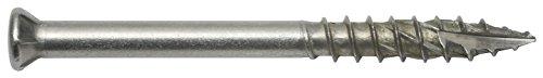 Terrasschroef incl. bit - voor bevestiging van terrassen en vloerbedekking, roestvrij staal A2- roestvrij/speciale schroefdraad/verzonken kop / 5,5 x 90 mm / 60 stuks