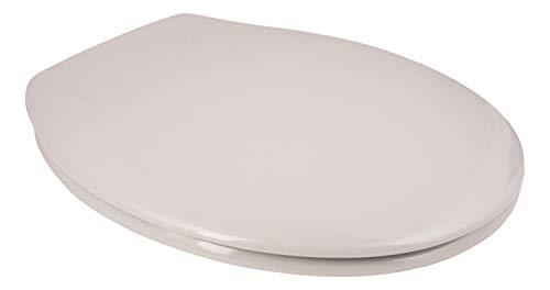 Calmwaters® Antibakterieller WC-Sitz Manhattan-Grau Essential Soft, rostfreie Edelstahl-Schnell-Befestigung Fast-Fix, universale O Form, stabiler Duroplast Toilettendeckel, Manhattan-Grau - 26LP2750