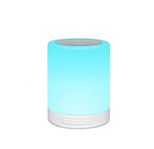 LUXMAX Utile Luce Notturna Bluetooth Portable Wireless Touch Control Color Color Speaker LED Altoparlante Lampada da Tavolo da Esterno Scheda TF supportata Ricaricabile (Colore: con Orologio Bianco)