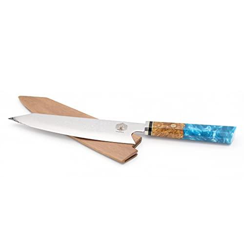 Cuchillo de cocina japonés de 33 cm, hoja de acero VG10, 67 capas, mango de madera y resina aprobado HRC60, cuchillo de cocina profesional...