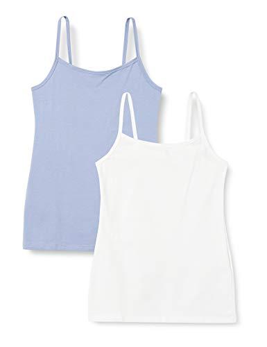 Iris & Lilly Unterhemd Damen mit Spaghettiträger, Body Smooth, enge Passform 2er Pack, 1 x Weiß, 1x Blue Denim, Medium