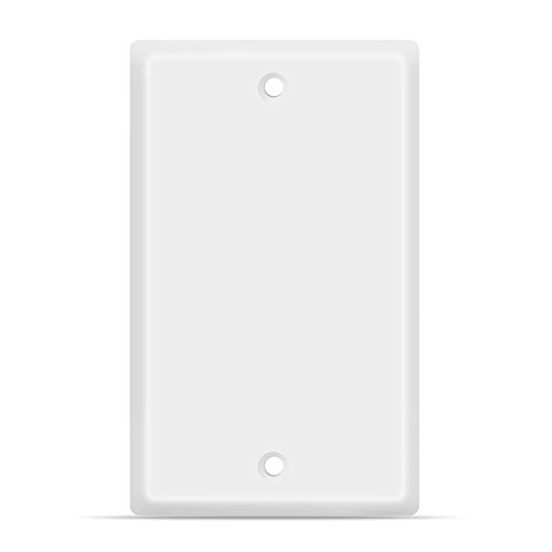 TNP Blank Wall Plate Outlet Cover ? Blank Faceplate Socket Insert Jack Plug Panel Cover Single Gang Standard Size (White)