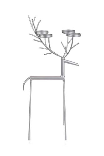 Silver Reindeer Tealight Candle Holder - Holds Upto 4 Tealights In The Antlers - 55cm Tall - Ideal For Christmas Table Decoration & To Decorate Your Home
