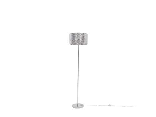 Beliani Klassische Stehleuchte runder Lampenschirm Metall silbern Nuon