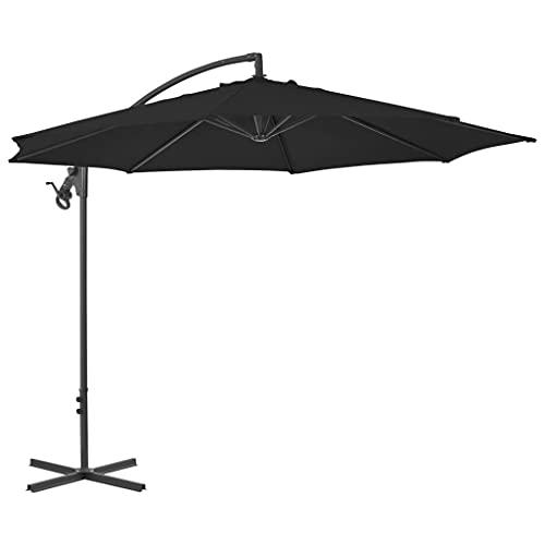 vidaXL Sombrilla Voladiza con Poste Parasol Exterior Patio Terraza Protección contra Rayos Ultravioleta Playa Piscina Toldo de Acero Negro 300 cm