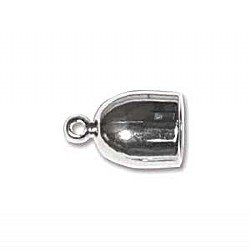 6mm Bullet End Cap Silver Plated Qty 2