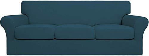 Mazu Homee 4 fundas elásticas para sofá suave, se puede limpiar (3 alfombrillas separadas), funda flexible para muebles (sofá, gris oscuro).