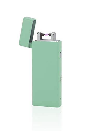 TESLA Lighter T04 Lichtbogen Feuerzeug, Plasma Single-Arc, elektronisch wiederaufladbar, aufladbar mit Strom per USB, ohne Gas und Benzin, mit Ladekabel, in edler Geschenkverpackung Mint