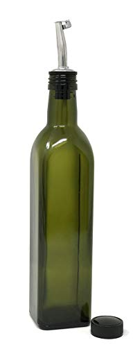 nicebottles - Olive Oil Dispenser with Stainless Steel Flip-Top Pourer, Dark Green, Square, 500ml