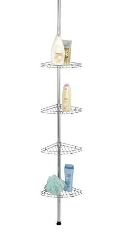 WENKO Esquinero telescópico para la ducha Prea acero inox - 4 cajones pongotodo, Acero inoxidable, 28 x 65-275 x 20 cm, Brillante