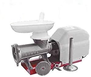 Garhe Picadora-embutidora eléctrica nº 32 sobre Base metálica con Cabezal Tradicional de Boca Ovalada Extra Ancha Tipo Niploy