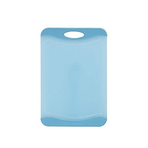 YUZHUKKKPYZAB huggarbrädor Material, icke-glidande platiska skärbräda för familj, lämplig för alla typer av mat, med saftspår, handtag, storlek: 36,6cm * 24,7cm (Color : Blue)