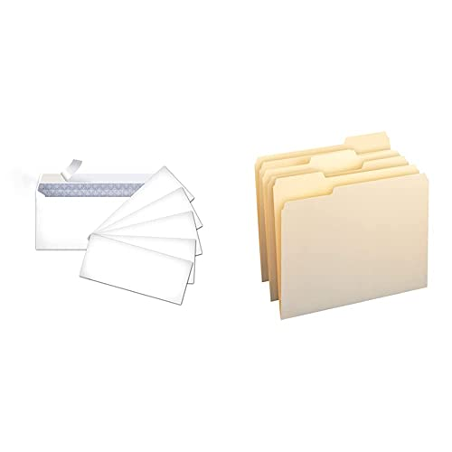 Amazon Basics #10 Security-Tinted Envelopes with Peel & Seal, White, 500-Pack & 1/3-Cut Tab, Assorted Positions File Folders, Letter Size, Manila - Pack of 100