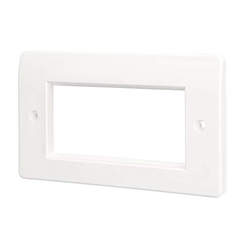 Computer Spares 4 Module Double Gang Face Plate for Euro AV Modules Wall Outlet (Rounded)