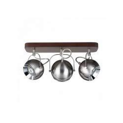 Lámpara de techo de haya tintado nogal, diseño retro con 3 bolas