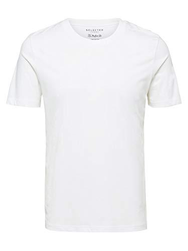 SELECTED HOMME Shdtheperfect SS O-Neck Tee Noos T-Shirt, Bianco (Bright White), Medium Uomo