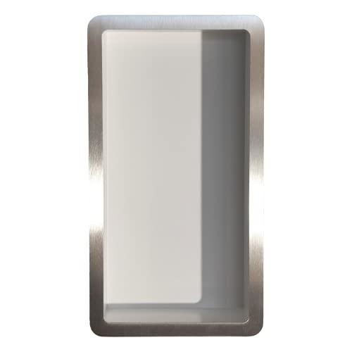Estantes de baño   Estante de Ducha Empotrado de Pared Acero INOX , 15x30, nicho de Ducha COMPONENDO, Made In Italy (Color Blanco)